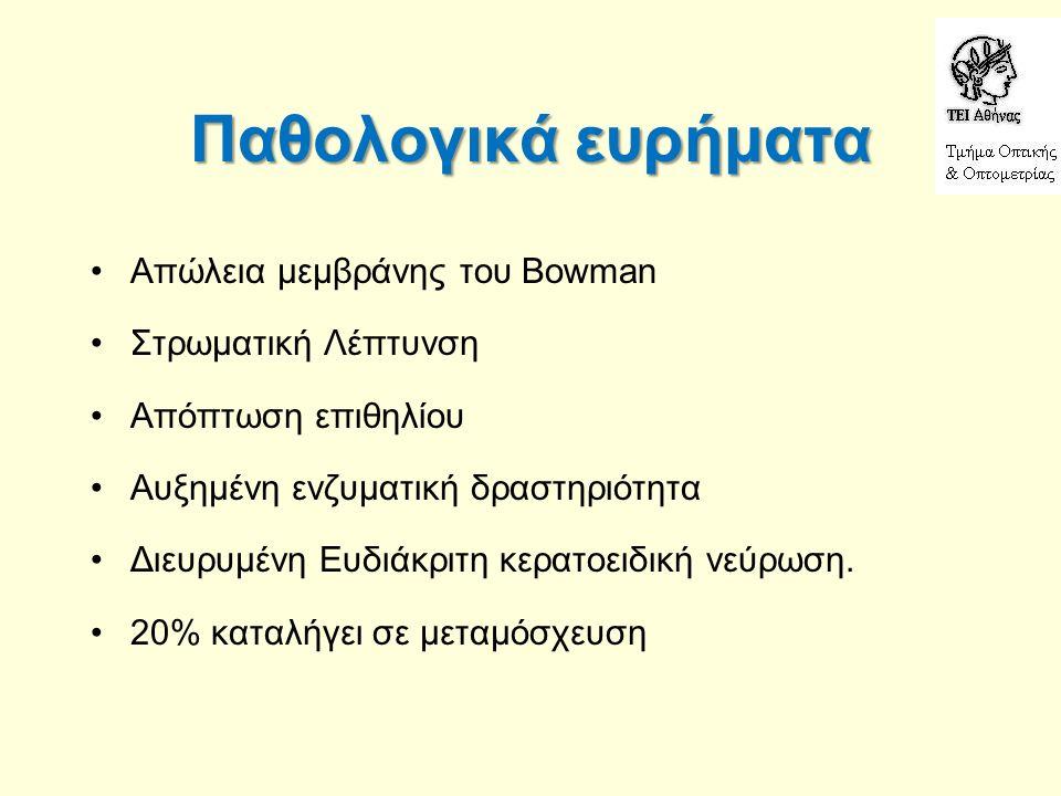 Παθολογικά ευρήματα Απώλεια μεμβράνης του Bowman Στρωματική Λέπτυνση Απόπτωση επιθηλίου Αυξημένη ενζυματική δραστηριότητα Διευρυμένη Ευδιάκριτη κερατοειδική νεύρωση.