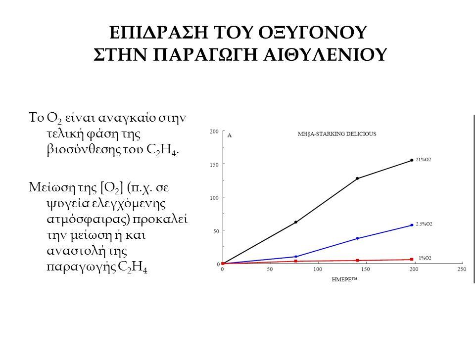 ΕΠΙΔΡΑΣΗ ΤΟΥ ΟΞΥΓΟΝΟΥ ΣΤΗΝ ΠΑΡΑΓΩΓΗ ΑΙΘΥΛΕΝΙΟΥ Το O 2 είναι αναγκαίο στην τελική φάση της βιοσύνθεσης του C 2 H 4. Μείωση της [O 2 ] (π.χ. σε ψυγεία ε