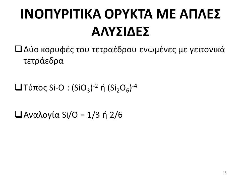 INOΠΥΡΙΤΙΚΑ ΟΡΥΚΤΑ ΜΕ ΑΠΛΕΣ ΑΛΥΣΙΔΕΣ  Δύο κορυφές του τετραέδρου ενωμένες με γειτονικά τετράεδρα  Τύπος Si-O : (SiO 3 ) -2 ή (Si 2 O 6 ) -4  Αναλογία Si/O = 1/3 ή 2/6 15
