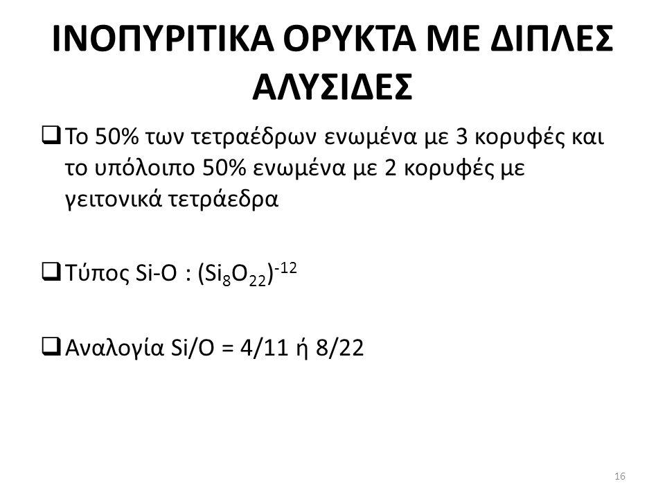 INOΠΥΡΙΤΙΚΑ ΟΡΥΚΤΑ ΜΕ ΔΙΠΛΕΣ ΑΛΥΣΙΔΕΣ  Το 50% των τετραέδρων ενωμένα με 3 κορυφές και το υπόλοιπο 50% ενωμένα με 2 κορυφές με γειτονικά τετράεδρα  Τύπος Si-O : (Si 8 O 22 ) -12  Αναλογία Si/O = 4/11 ή 8/22 16