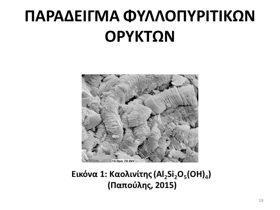 ΠΑΡΑΔΕΙΓΜΑ ΦΥΛΛΟΠΥΡΙΤΙΚΩΝ ΟΡΥΚΤΩΝ Εικόνα 1: Καολινίτης (Al 2 Si 2 O 5 (OH) 4 ) (Παπούλης, 2015) 18