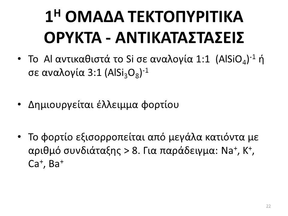 1 Η ΟΜΑΔΑ ΤΕΚΤΟΠΥΡΙΤΙΚΑ ΟΡΥΚΤΑ - ΑΝΤΙΚΑΤΑΣΤΑΣΕΙΣ Το Al αντικαθιστά το Si σε αναλογία 1:1 (AlSiO 4 ) -1 ή σε αναλογία 3:1 (AlSi 3 O 8 ) -1 Δημιουργείται έλλειμμα φορτίου Το φορτίο εξισορροπείται από μεγάλα κατιόντα με αριθμό συνδιάταξης > 8.