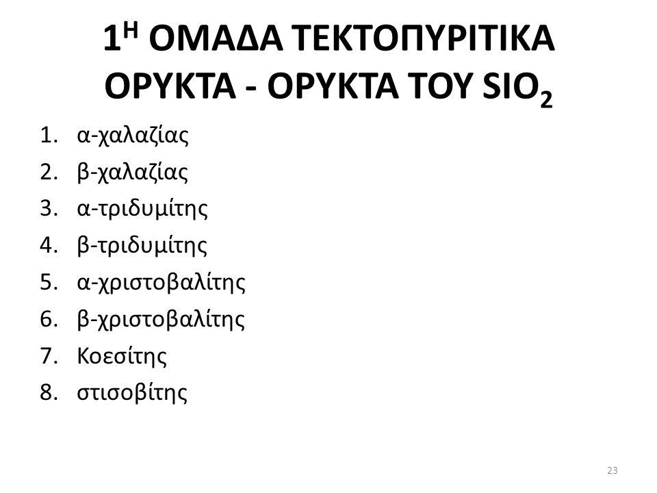 1 Η ΟΜΑΔΑ ΤΕΚΤΟΠΥΡΙΤΙΚΑ ΟΡΥΚΤΑ - ΟΡΥΚΤΑ ΤΟΥ SIO 2 1.α-χαλαζίας 2.β-χαλαζίας 3.α-τριδυμίτης 4.β-τριδυμίτης 5.α-χριστοβαλίτης 6.β-χριστοβαλίτης 7.Κοεσίτης 8.στισοβίτης 23