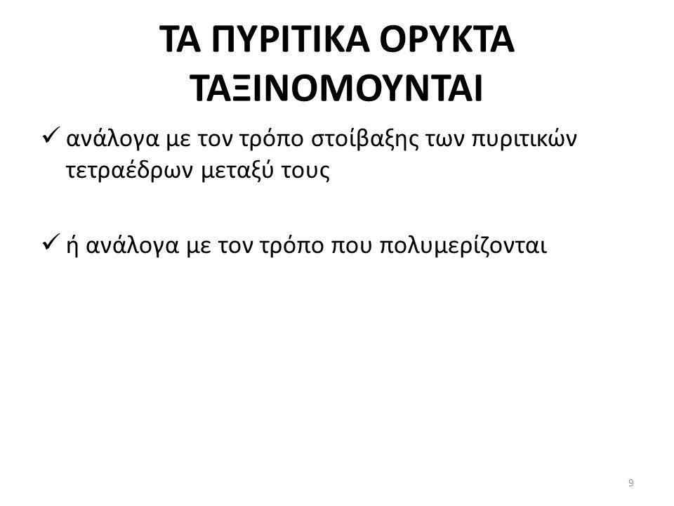 ΤΑ ΠΥΡΙΤΙΚΑ ΟΡΥΚΤΑ ΤΑΞΙΝΟΜΟΥΝΤΑΙ ανάλογα με τον τρόπο στοίβαξης των πυριτικών τετραέδρων μεταξύ τους ή ανάλογα με τον τρόπο που πολυμερίζονται 9