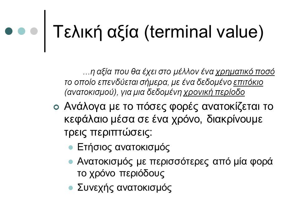 Τελική αξία (terminal value)...η αξία που θα έχει στο μέλλον ένα χρηματικό ποσό το οποίο επενδύεται σήμερα, με ένα δεδομένο επιτόκιο (ανατοκισμού), για μια δεδομένη χρονική περίοδο Ανάλογα με το πόσες φορές ανατοκίζεται το κεφάλαιο μέσα σε ένα χρόνο, διακρίνουμε τρεις περιπτώσεις: Ετήσιος ανατοκισμός Ανατοκισμός με περισσότερες από μία φορά το χρόνο περιόδους Συνεχής ανατοκισμός