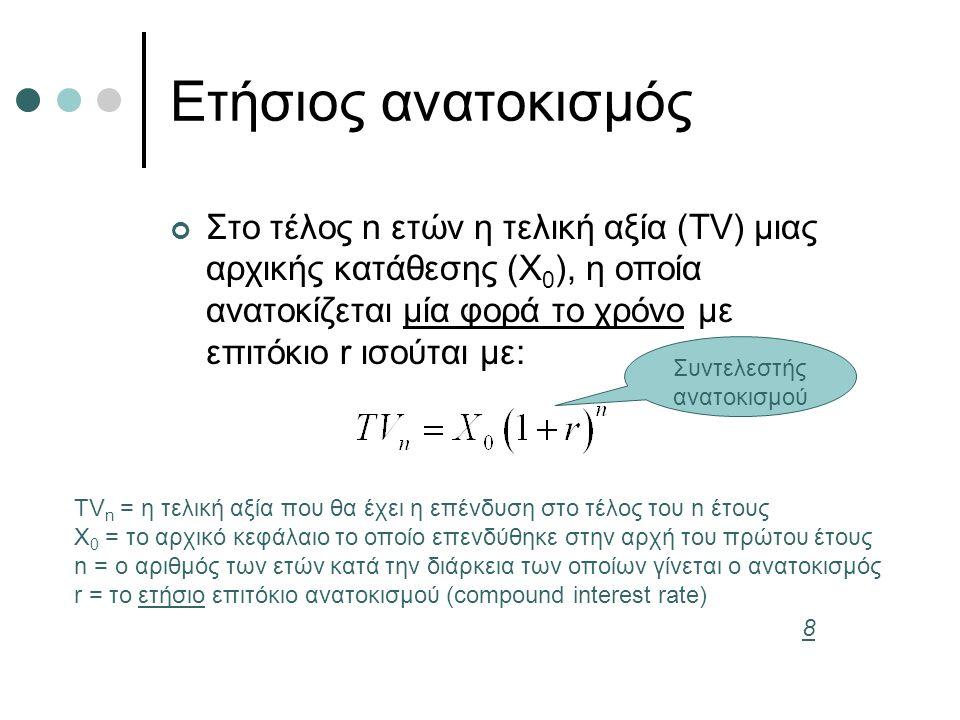 Ετήσιος ανατοκισμός Στο τέλος n ετών η τελική αξία (TV) μιας αρχικής κατάθεσης (X 0 ), η οποία ανατοκίζεται μία φορά το χρόνο με επιτόκιο r ισούται με: TV n = η τελική αξία που θα έχει η επένδυση στο τέλος του n έτους X 0 = το αρχικό κεφάλαιο το οποίο επενδύθηκε στην αρχή του πρώτου έτους n = ο αριθμός των ετών κατά την διάρκεια των οποίων γίνεται ο ανατοκισμός r = το ετήσιο επιτόκιο ανατοκισμού (compound interest rate) Συντελεστής ανατοκισμού 8