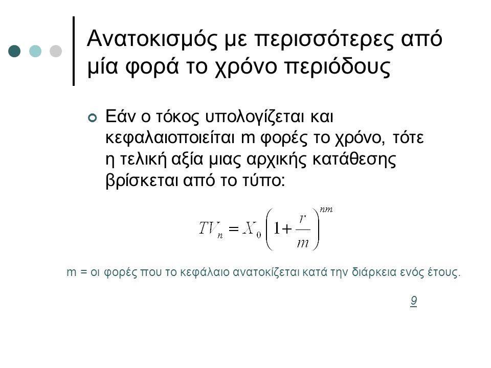 Ανατοκισμός με περισσότερες από μία φορά το χρόνο περιόδους Εάν ο τόκος υπολογίζεται και κεφαλαιοποιείται m φορές το χρόνο, τότε η τελική αξία μιας αρ