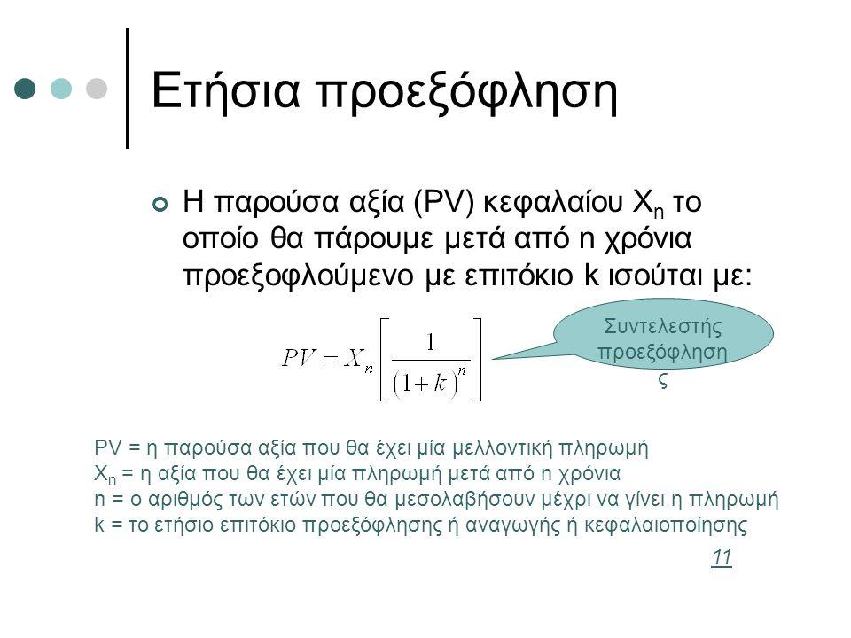 Ετήσια προεξόφληση Η παρούσα αξία (PV) κεφαλαίου X n το οποίο θα πάρουμε μετά από n χρόνια προεξοφλούμενο με επιτόκιο k ισούται με: PV = η παρούσα αξία που θα έχει μία μελλοντική πληρωμή X n = η αξία που θα έχει μία πληρωμή μετά από n χρόνια n = ο αριθμός των ετών που θα μεσολαβήσουν μέχρι να γίνει η πληρωμή k = το ετήσιο επιτόκιο προεξόφλησης ή αναγωγής ή κεφαλαιοποίησης Συντελεστής προεξόφληση ς 11