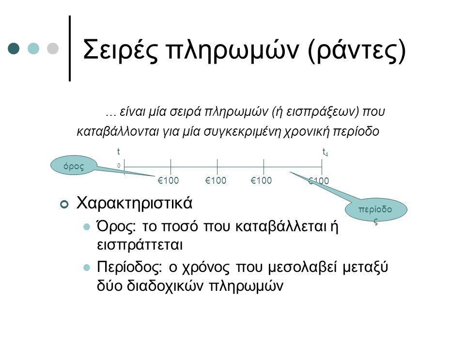 Σειρές πληρωμών (ράντες)... είναι μία σειρά πληρωμών (ή εισπράξεων) που καταβάλλονται για μία συγκεκριμένη χρονική περίοδο Χαρακτηριστικά Όρος: το ποσ