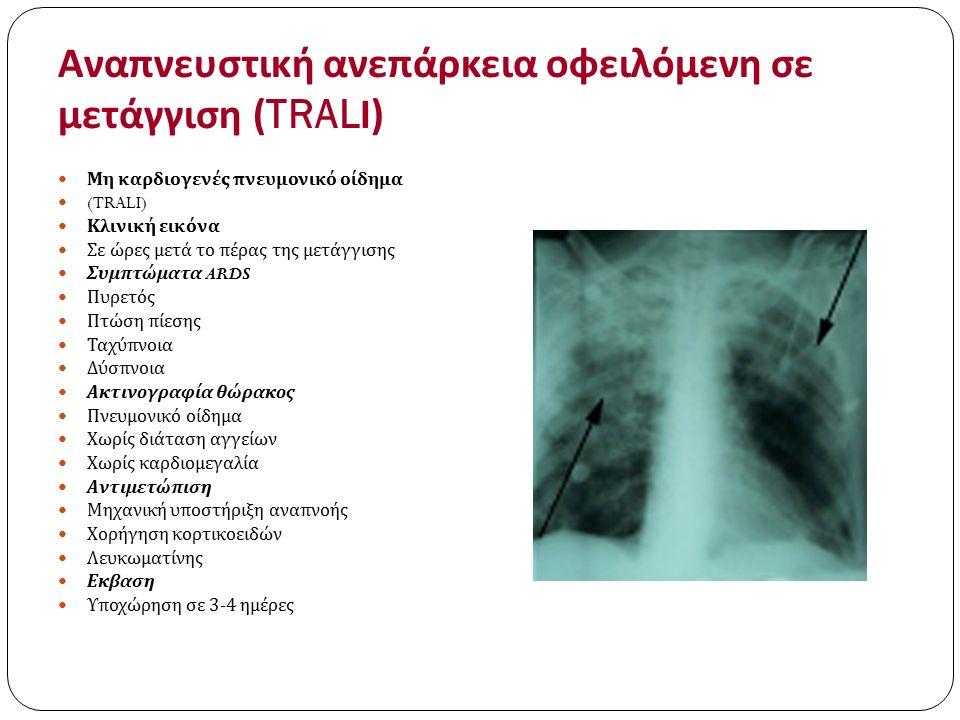 Αναπνευστική ανεπάρκεια οφειλόμενη σε μετάγγιση (TRAL Ι ) Μη καρδιογενές πνευμονικό οίδημα (TRALI) Κλινική εικόνα Σε ώρες μετά το πέρας της μετάγγισης
