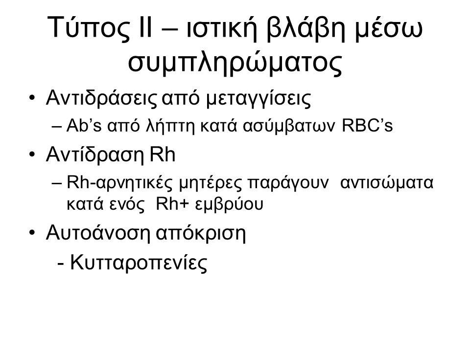 Tύπος II – ιστική βλάβη μέσω συμπληρώματος Αντιδράσεις από μεταγγίσεις –Ab's από λήπτη κατά ασύμβατων RBC's Αντίδραση Rh –Rh-αρνητικές μητέρες παράγουν αντισώματα κατά ενός Rh+ εμβρύου Αυτοάνοση απόκριση - Κυτταροπενίες