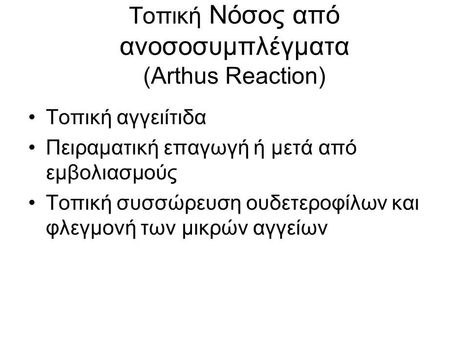 Τοπική Νόσος από ανοσοσυμπλέγματα (Arthus Reaction) Τοπική αγγειίτιδα Πειραματική επαγωγή ή μετά από εμβολιασμούς Τοπική συσσώρευση ουδετεροφίλων και φλεγμονή των μικρών αγγείων