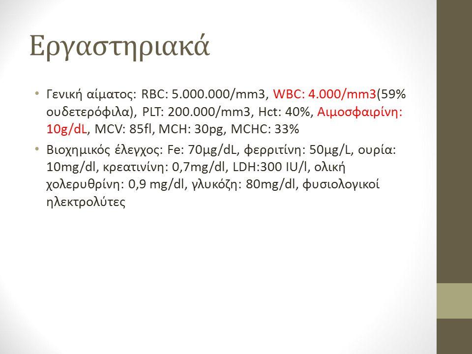 Εργαστηριακά Γενική αίματος: RBC: 5.000.000/mm3, WBC: 4.000/mm3(59% ουδετερόφιλα), PLT: 200.000/mm3, Hct: 40%, Αιμοσφαιρίνη: 10g/dL, MCV: 85fl, MCH: 30pg, MCHC: 33% Βιοχημικός έλεγχος: Fe: 70μg/dL, φερριτίνη: 50μg/L, ουρία: 10mg/dl, κρεατινίνη: 0,7mg/dl, LDH:300 IU/l, ολική χολερυθρίνη: 0,9 mg/dl, γλυκόζη: 80mg/dl, φυσιολογικοί ηλεκτρολύτες
