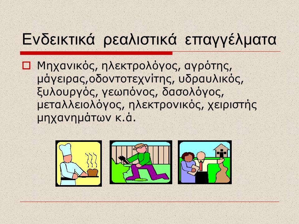 Ενδεικτικά ρεαλιστικά επαγγέλματα  Μηχανικός, ηλεκτρολόγος, αγρότης, μάγειρας,οδοντοτεχνίτης, υδραυλικός, ξυλουργός, γεωπόνος, δασολόγος, μεταλλειολό