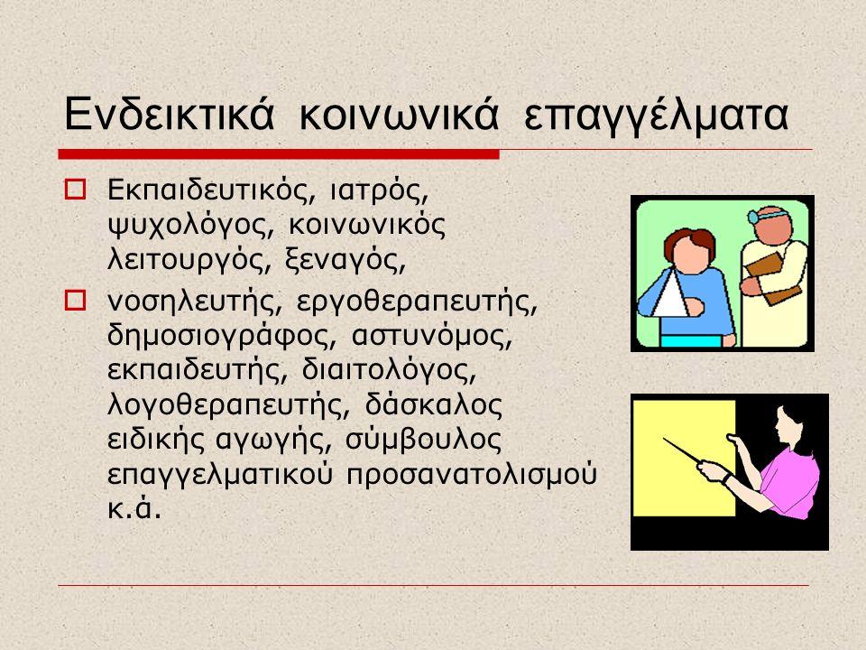 Ενδεικτικά κοινωνικά επαγγέλματα  Εκπαιδευτικός, ιατρός, ψυχολόγος, κοινωνικός λειτουργός, ξεναγός,  νοσηλευτής, εργοθεραπευτής, δημοσιογράφος, αστυ