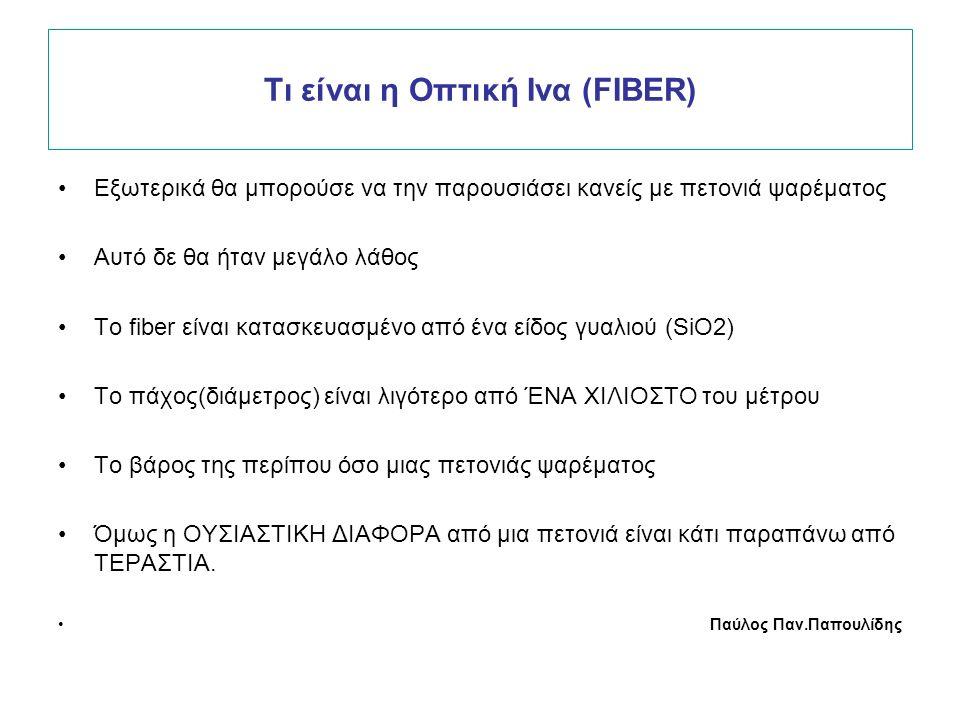 Τι είναι η Οπτική Ινα (FIBER) Εξωτερικά θα μπορούσε να την παρουσιάσει κανείς με πετονιά ψαρέματος Αυτό δε θα ήταν μεγάλο λάθος Το fiber είναι κατασκευασμένο από ένα είδος γυαλιού (SiO2) Το πάχος(διάμετρος) είναι λιγότερο από ΈΝΑ ΧΙΛΙΟΣΤΟ του μέτρου Το βάρος της περίπου όσο μιας πετονιάς ψαρέματος Όμως η ΟΥΣΙΑΣΤΙΚΗ ΔΙΑΦΟΡΑ από μια πετονιά είναι κάτι παραπάνω από ΤΕΡΑΣΤΙΑ.