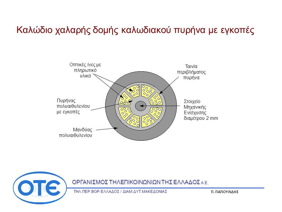 Στοιχείο Μηχανικής Ενίσχυσης διαμέτρου 2 mm Πυρήνας πολυαιθυλενίου με εγκοπές Οπτικές ίνες με πληρωτικό υλικό Ταινία περιβλήματος πυρήνα Μανδύας πολυαιθυλενίου Καλώδιο χαλαρής δομής καλωδιακού πυρήνα με εγκοπές ΟΡΓΑΝΙΣΜΟΣ ΤΗΛΕΠΙΚΟΙΝΩΝΙΩΝ ΤΗΣ ΕΛΛΑΔΟΣ Α.Ε.
