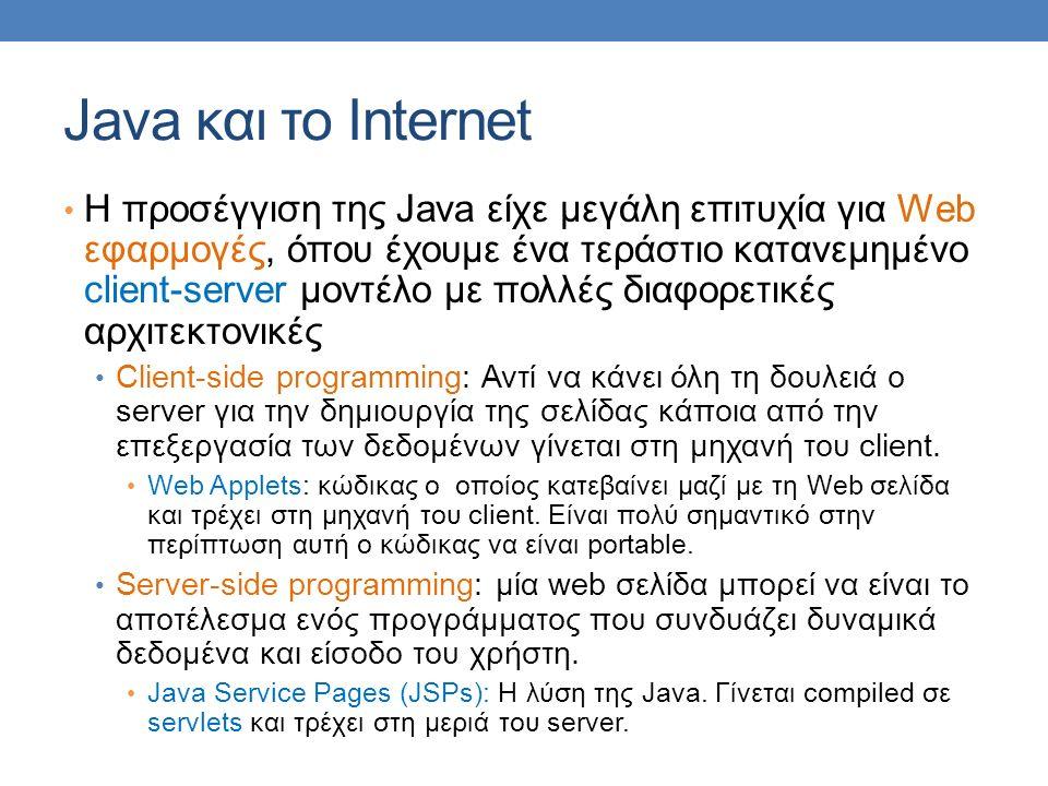 Java και το Internet H προσέγγιση της Java είχε μεγάλη επιτυχία για Web εφαρμογές, όπου έχουμε ένα τεράστιο κατανεμημένο client-server μοντέλο με πολλές διαφορετικές αρχιτεκτονικές Client-side programming: Αντί να κάνει όλη τη δουλειά ο server για την δημιουργία της σελίδας κάποια από την επεξεργασία των δεδομένων γίνεται στη μηχανή του client.
