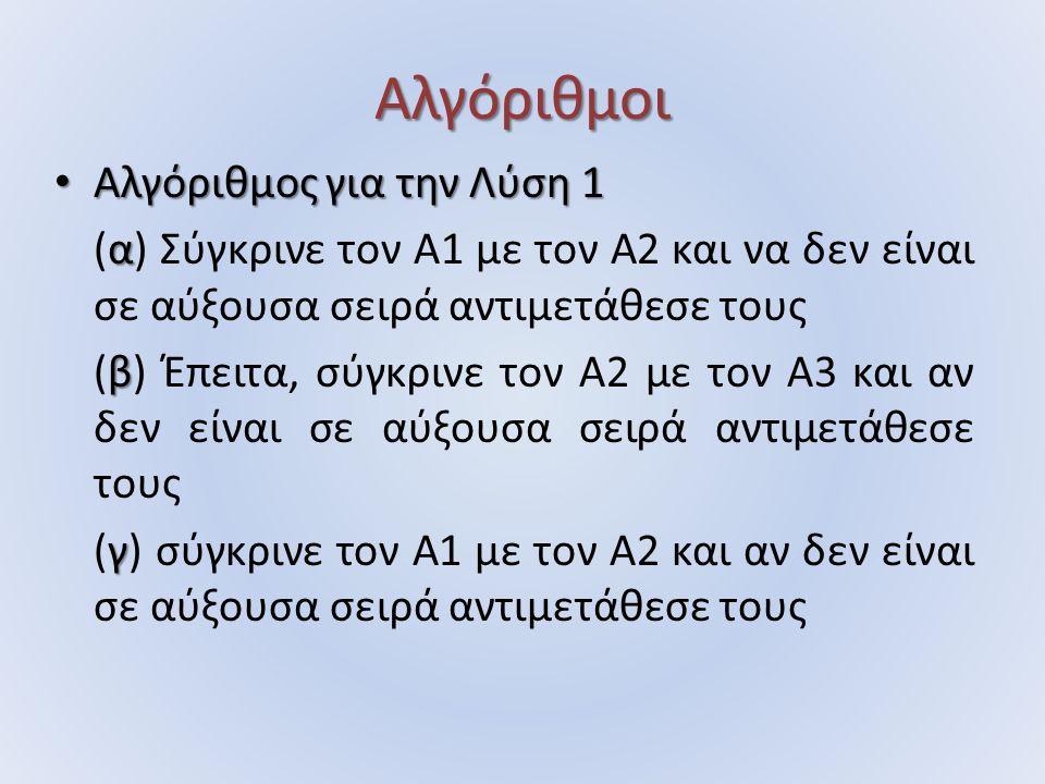 Αλγόριθμοι Αλγόριθμος για την Λύση 1 Αλγόριθμος για την Λύση 1 α (α) Σύγκρινε τον Α1 με τον Α2 και να δεν είναι σε αύξουσα σειρά αντιμετάθεσε τους β (