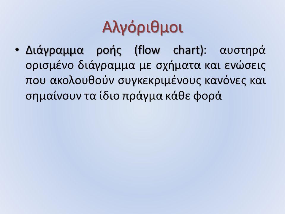 Αλγόριθμοι Διάγραμμα ροής (flow chart) Διάγραμμα ροής (flow chart): αυστηρά ορισμένο διάγραμμα με σχήματα και ενώσεις που ακολουθούν συγκεκριμένους κα