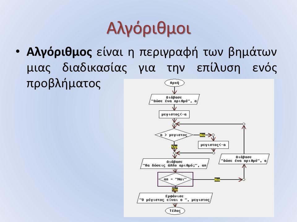 Αλγόριθμοι Αλγόριθμος είναι η περιγραφή των βημάτων μιας διαδικασίας για την επίλυση ενός προβλήματος