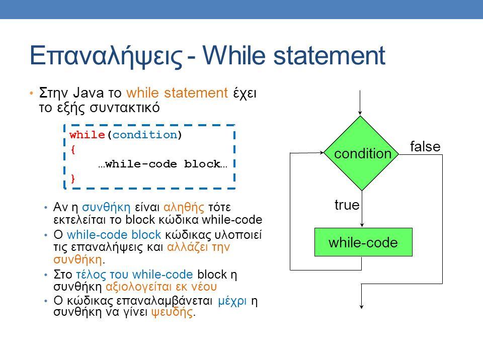 Επαναλήψεις - While statement Στην Java το while statement έχει το εξής συντακτικό Αν η συνθήκη είναι αληθής τότε εκτελείται το block κώδικα while-code O while-code block κώδικας υλοποιεί τις επαναλήψεις και αλλάζει την συνθήκη.