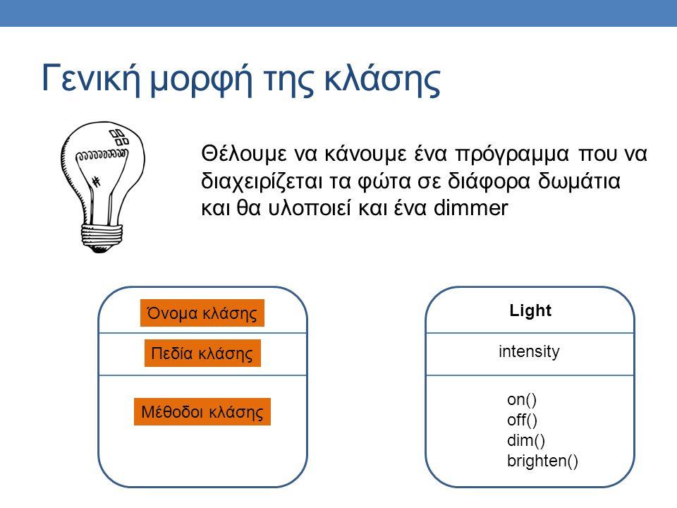 Γενική μορφή της κλάσης Όνομα κλάσης Πεδία κλάσης Μέθοδοι κλάσης Light intensity on() off() dim() brighten() Θέλουμε να κάνουμε ένα πρόγραμμα που να διαχειρίζεται τα φώτα σε διάφορα δωμάτια και θα υλοποιεί και ένα dimmer