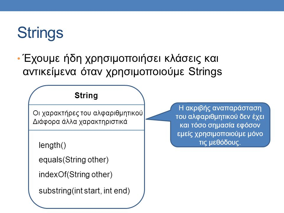 Strings Έχουμε ήδη χρησιμοποιήσει κλάσεις και αντικείμενα όταν χρησιμοποιούμε Strings String Οι χαρακτήρες του αλφαριθμητικού Διάφορα άλλα χαρακτηριστικά length() Η ακριβής αναπαράσταση του αλφαριθμητικού δεν έχει και τόσο σημασία εφόσον εμείς χρησιμοποιούμε μόνο τις μεθόδους.