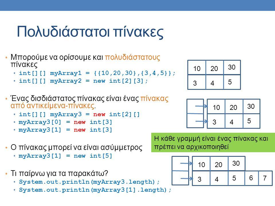 Πολυδιάστατοι πίνακες Μπορούμε να ορίσουμε και πολυδιάστατους πίνακες int[][] myArray1 = {{10,20,30},{3,4,5}}; int[][] myArray2 = new int[2][3]; Ένας δισδιάστατος πίνακας είναι ένας πίνακας από αντικείμενα-πίνακες.