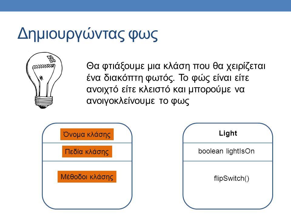 Δημιουργώντας φως Όνομα κλάσης Πεδία κλάσης Μέθοδοι κλάσης Light boolean lightIsOn flipSwitch() Θα φτιάξουμε μια κλάση που θα χειρίζεται ένα διακόπτη φωτός.