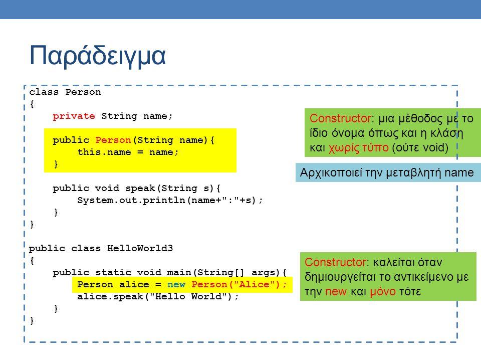 Παράδειγμα Constructor: μια μέθοδος με το ίδιο όνομα όπως και η κλάση και χωρίς τύπο (ούτε void) class Person { private String name; public Person(String name){ this.name = name; } public void speak(String s){ System.out.println(name+ : +s); } public class HelloWorld3 { public static void main(String[] args){ Person alice = new Person( Alice ); alice.speak( Hello World ); } Αρχικοποιεί την μεταβλητή name Constructor: καλείται όταν δημιουργείται το αντικείμενο με την new και μόνο τότε