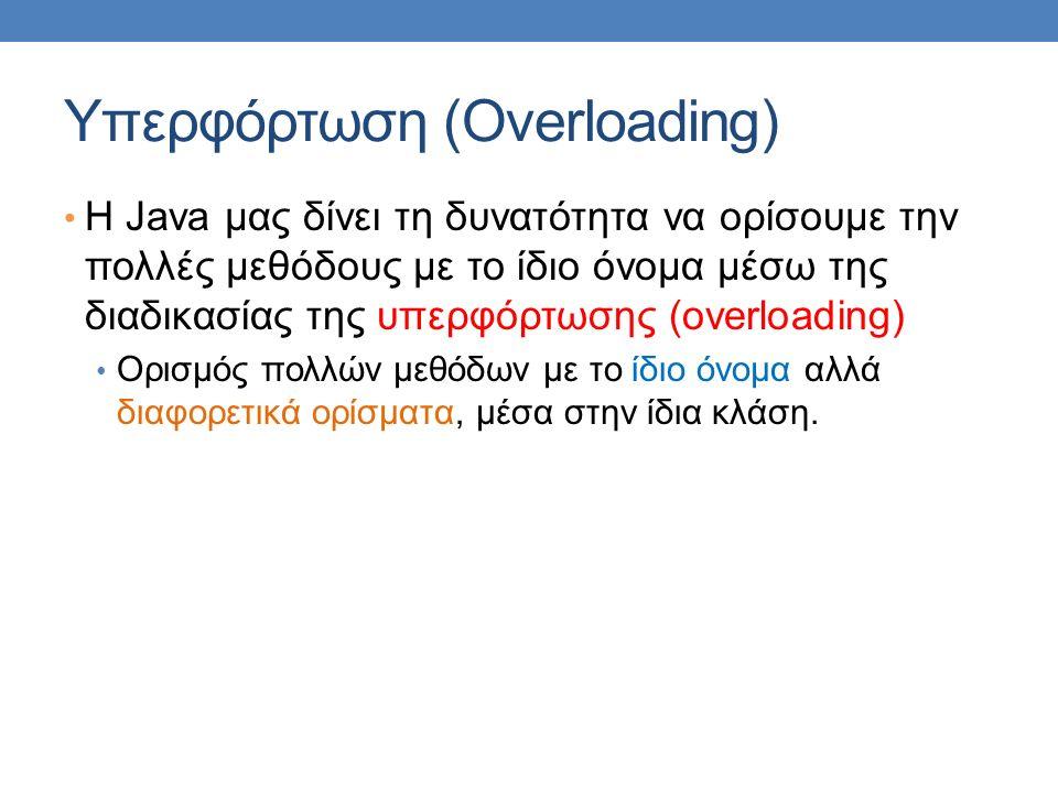 Υπερφόρτωση (Overloading) H Java μας δίνει τη δυνατότητα να ορίσουμε την πολλές μεθόδους με το ίδιο όνομα μέσω της διαδικασίας της υπερφόρτωσης (overloading) Ορισμός πολλών μεθόδων με το ίδιο όνομα αλλά διαφορετικά ορίσματα, μέσα στην ίδια κλάση.