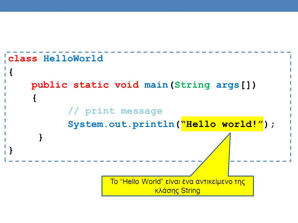 class HelloWorld { public static void main(String args[]) { // print message System.out.println( Hello world! ); } To Hello World είναι ένα αντικείμενο της κλάσης String
