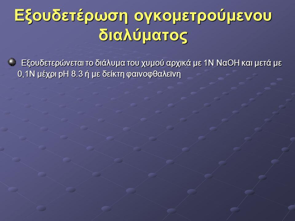 Εξουδετέρωση ογκομετρούμενου διαλύματος Εξουδετέρωση ογκομετρούμενου διαλύματος Εξουδετερώνεται το διάλυμα του χυμού αρχικά με 1Ν ΝαΟΗ και μετά με 0,1Ν μέχρι pΗ 8.3 ή με δείκτη φαινοφθαλεϊνη Εξουδετερώνεται το διάλυμα του χυμού αρχικά με 1Ν ΝαΟΗ και μετά με 0,1Ν μέχρι pΗ 8.3 ή με δείκτη φαινοφθαλεϊνη