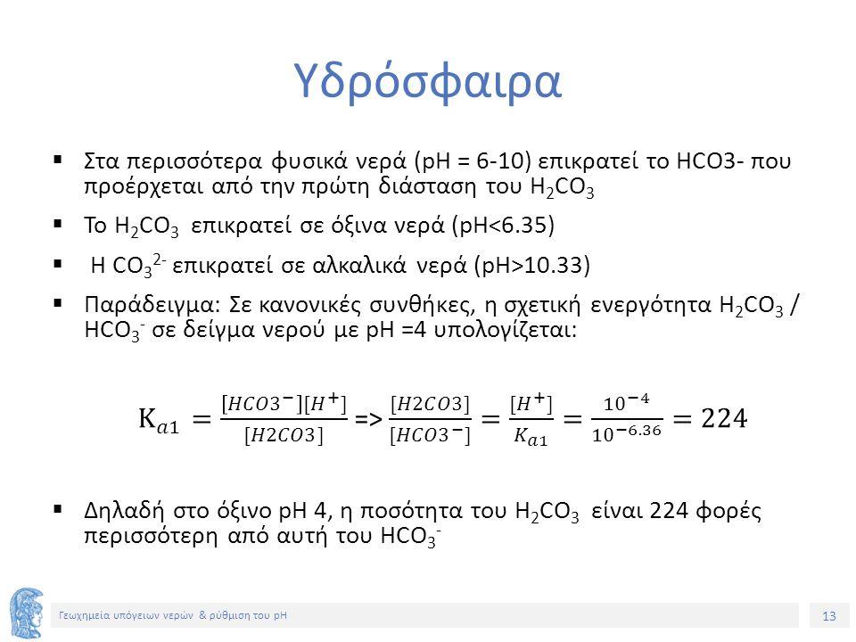 13 Γεωχημεία υπόγειων νερών & ρύθμιση του pH Υδρόσφαιρα