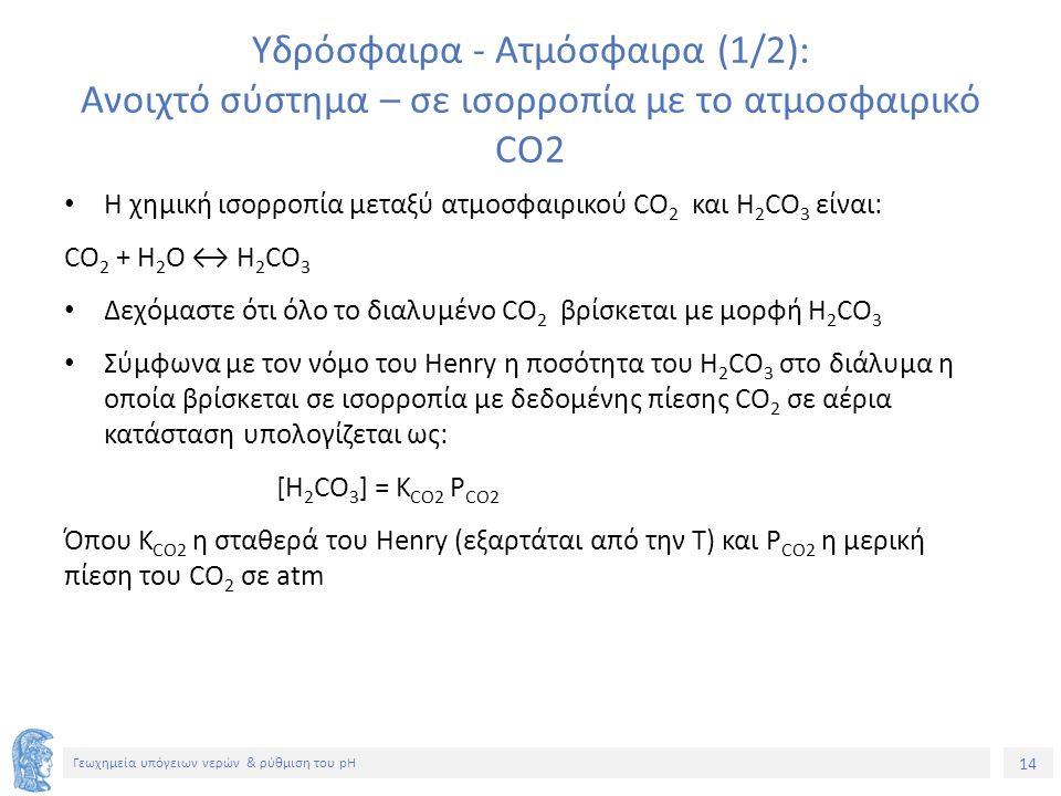 14 Γεωχημεία υπόγειων νερών & ρύθμιση του pH Υδρόσφαιρα - Ατμόσφαιρα (1/2): Ανοιχτό σύστημα – σε ισορροπία με το ατμοσφαιρικό CO2 Η χημική ισορροπία μεταξύ ατμοσφαιρικού CO 2 και H 2 CO 3 είναι: CO 2 + H 2 O ↔ H 2 CO 3 Δεχόμαστε ότι όλο το διαλυμένο CO 2 βρίσκεται με μορφή H 2 CO 3 Σύμφωνα με τον νόμο του Henry η ποσότητα του H 2 CO 3 στο διάλυμα η οποία βρίσκεται σε ισορροπία με δεδομένης πίεσης CO 2 σε αέρια κατάσταση υπολογίζεται ως: [H 2 CO 3 ] = K CO2 P CO2 Όπου K CO2 η σταθερά του Henry (εξαρτάται από την Τ) και P CO2 η μερική πίεση του CO 2 σε atm