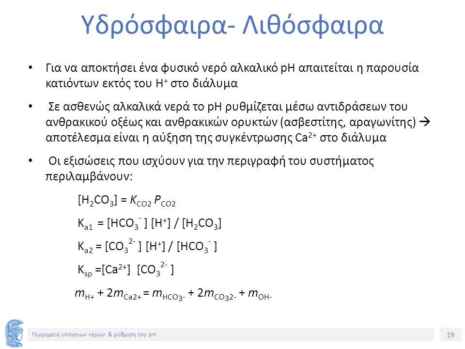 19 Γεωχημεία υπόγειων νερών & ρύθμιση του pH Υδρόσφαιρα- Λιθόσφαιρα Για να αποκτήσει ένα φυσικό νερό αλκαλικό pH απαιτείται η παρουσία κατιόντων εκτός του Η + στο διάλυμα Σε ασθενώς αλκαλικά νερά το pH ρυθμίζεται μέσω αντιδράσεων του ανθρακικού οξέως και ανθρακικών ορυκτών (ασβεστίτης, αραγωνίτης)  αποτέλεσμα είναι η αύξηση της συγκέντρωσης Ca 2+ στο διάλυμα Οι εξισώσεις που ισχύουν για την περιγραφή του συστήματος περιλαμβάνουν: [H 2 CO 3 ] = K CO2 P CO2 K a1 = [ΗCO 3 - ] [H + ] / [H 2 CO 3 ] K a2 = [CO 3 2- ] [H + ] / [ΗCO 3 - ] K sp =[Ca 2+ ] [CO 3 2- ] m H+ + 2m Ca2+ = m HCO 3 - + 2m CO 3 2- + m OH-