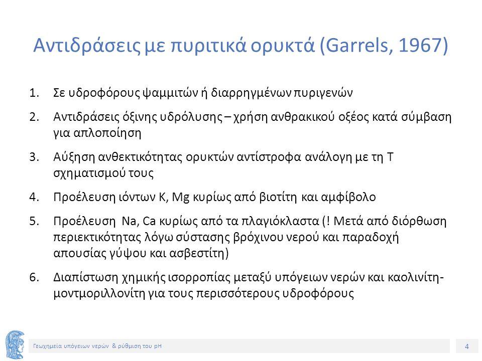 4 Γεωχημεία υπόγειων νερών & ρύθμιση του pH Αντιδράσεις με πυριτικά ορυκτά (Garrels, 1967) 1.Σε υδροφόρους ψαμμιτών ή διαρρηγμένων πυριγενών 2.Αντιδράσεις όξινης υδρόλυσης – χρήση ανθρακικού οξέος κατά σύμβαση για απλοποίηση 3.Αύξηση ανθεκτικότητας ορυκτών αντίστροφα ανάλογη με τη Τ σχηματισμού τους 4.Προέλευση ιόντων Κ, Mg κυρίως από βιοτίτη και αμφίβολο 5.Προέλευση Na, Ca κυρίως από τα πλαγιόκλαστα (.