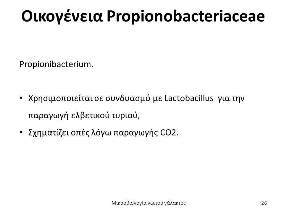 Οικογένεια Propionobacteriaceae Propionibacterium. Χρησιμοποιείται σε συνδυασμό με Lactobacillus για την παραγωγή ελβετικού τυριού, Σχηματίζει οπές λό