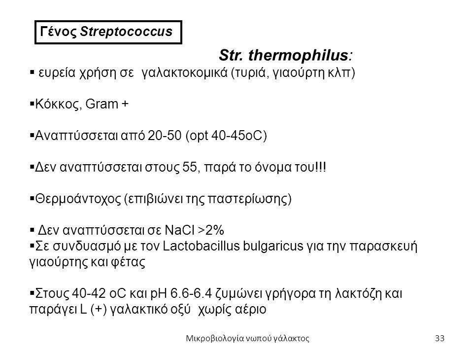 33 Γένος Streptococcus Str. thermophilus:  ευρεία χρήση σε γαλακτοκομικά (τυριά, γιαούρτη κλπ)  Κόκκος, Gram +  Αναπτύσσεται από 20-50 (opt 40-45oC