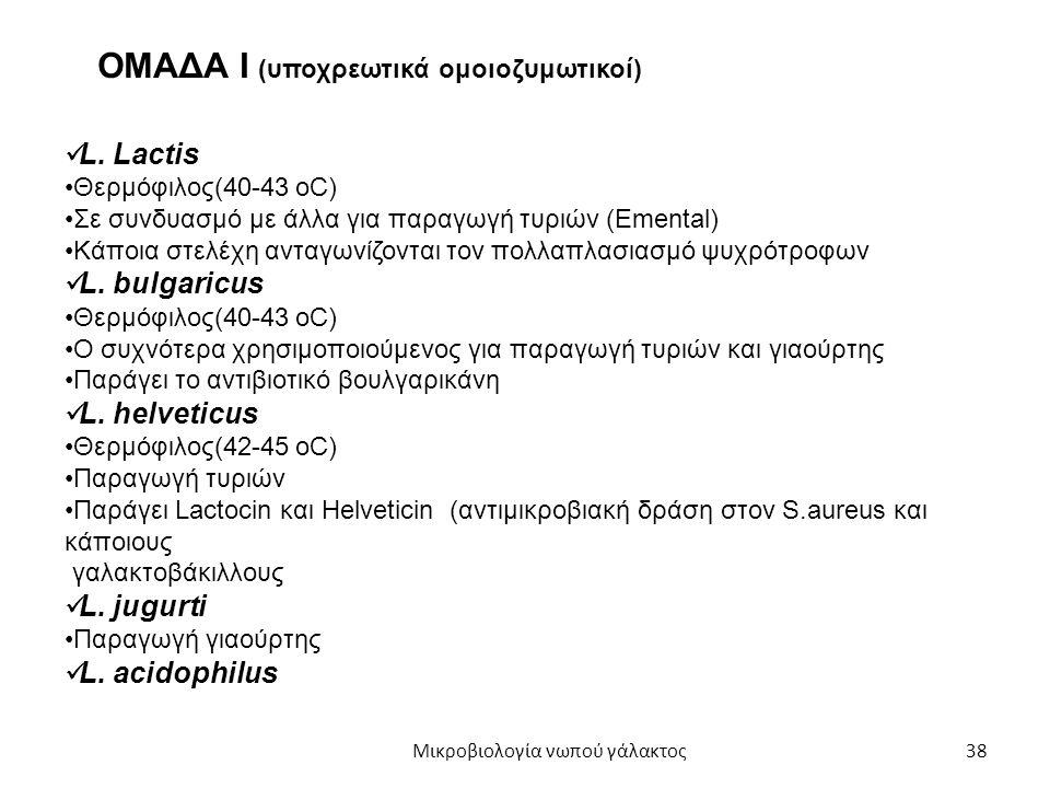 38 ΟΜΑΔΑ Ι (υποχρεωτικά ομοιοζυμωτικοί) L. Lactis Θερμόφιλος(40-43 οC) Σε συνδυασμό με άλλα για παραγωγή τυριών (Emental) Κάποια στελέχη ανταγωνίζοντα