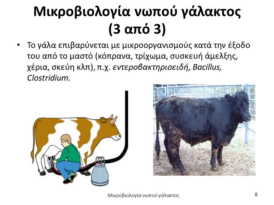 Μικροβιολογία νωπού γάλακτος (3 από 3) Το γάλα επιβαρύνεται με μικροοργανισμούς κατά την έξοδο του από το μαστό (κόπρανα, τρίχωμα, συσκευή άμελξης, χέ