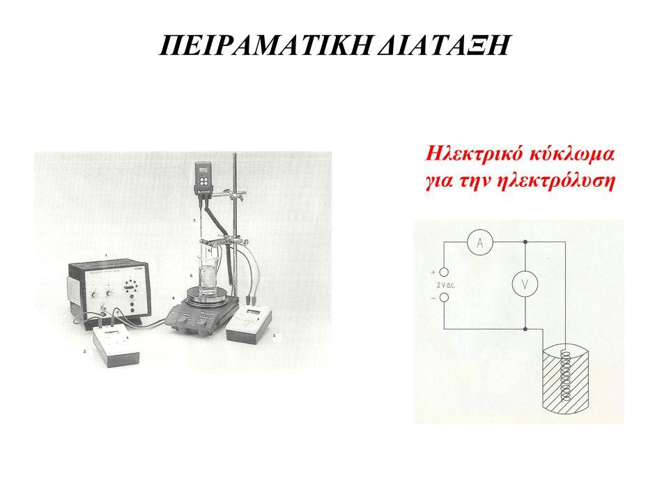 ΠΕΙΡΑΜΑΤΙΚΗ ΔΙΑΤΑΞΗ Ηλεκτρικό κύκλωμα για την ηλεκτρόλυση