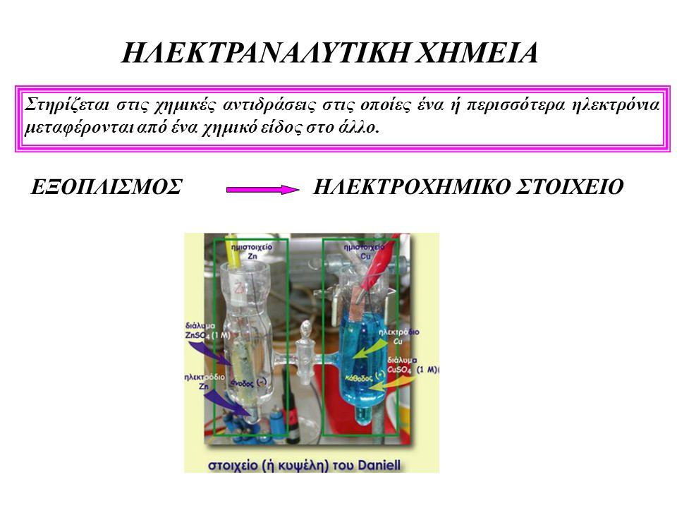 ΗΛΕΚΤΡΑΝΑΛΥΤΙΚΗ ΧΗΜΕΙΑ Στηρίζεται στις χημικές αντιδράσεις στις οποίες ένα ή περισσότερα ηλεκτρόνια μεταφέρονται από ένα χημικό είδος στο άλλο.