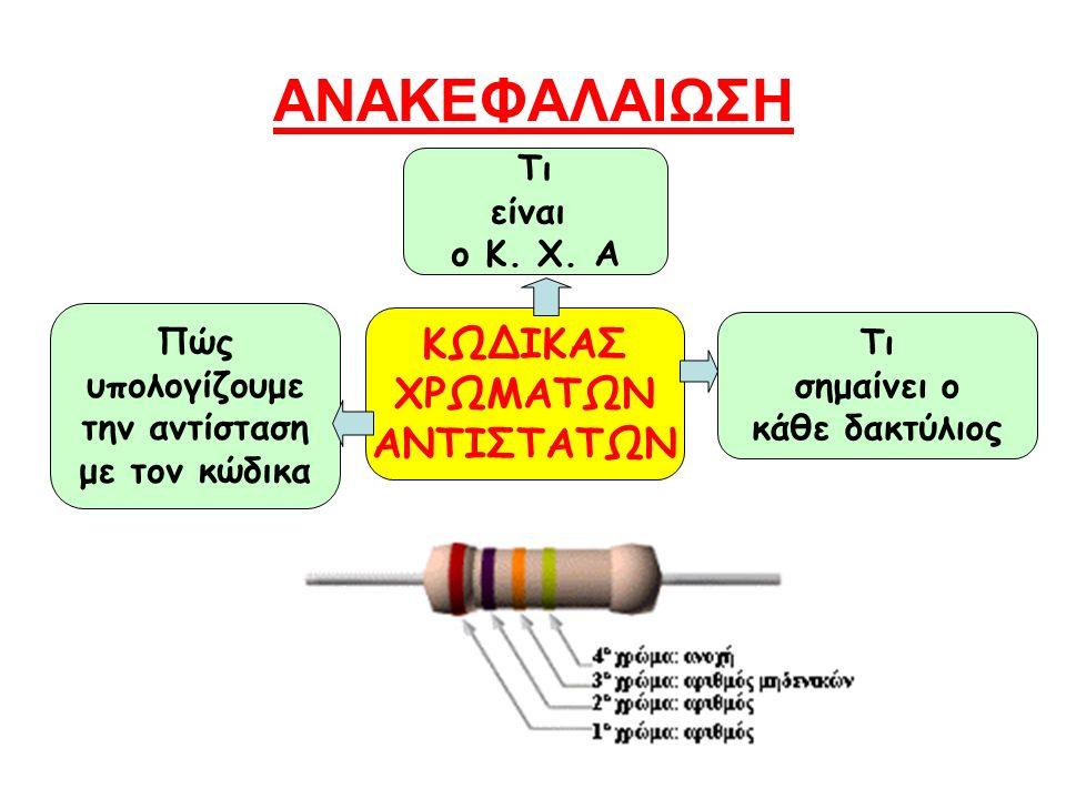 ΑΝΑΚΕΦΑΛΑΙΩΣΗ Τι σημαίνει ο κάθε δακτύλιος Τι είναι ο Κ. Χ. Α ΚΩΔΙΚΑΣ ΧΡΩΜΑΤΩΝ ΑΝΤΙΣΤΑΤΩΝ Πώς υπολογίζουμε την αντίσταση με τον κώδικα
