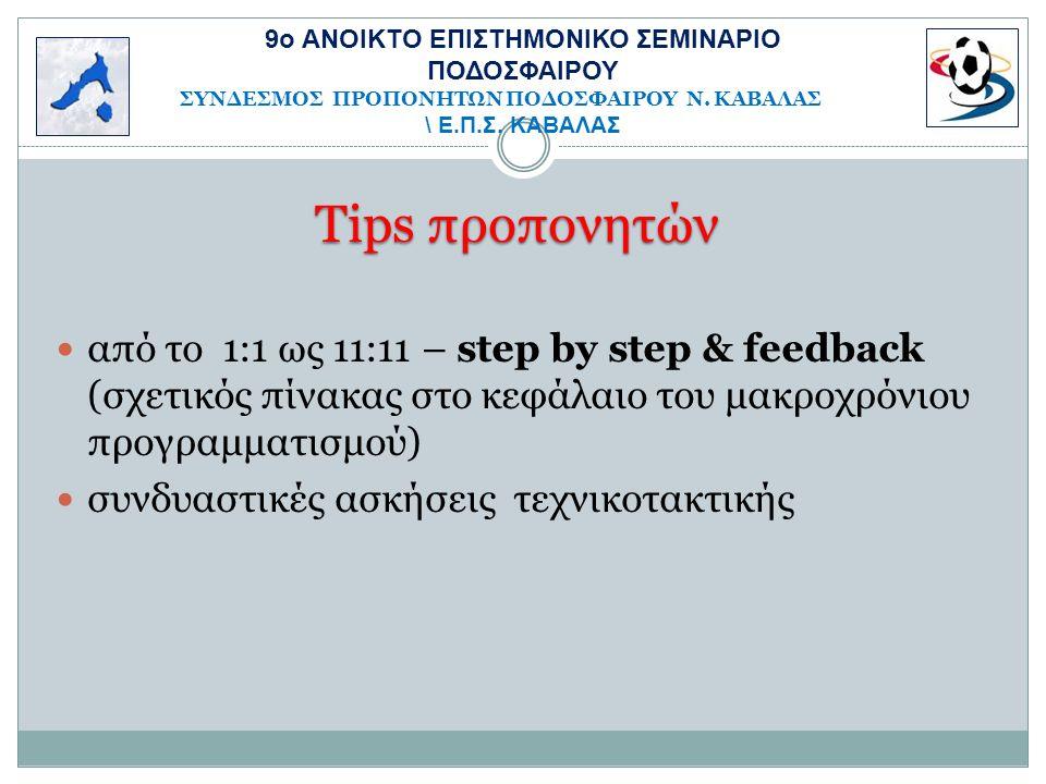 Tips προπονητών από το 1:1 ως 11:11 – step by step & feedback (σχετικός πίνακας στο κεφάλαιο του μακροχρόνιου προγραμματισμού) συνδυαστικές ασκήσεις τεχνικοτακτικής 9o ΑΝΟΙΚΤΟ ΕΠΙΣΤΗΜΟΝΙΚΟ ΣΕΜΙΝΑΡΙΟ ΠΟΔΟΣΦΑΙΡΟΥ ΣΥΝΔΕΣΜΟΣ ΠΡΟΠΟΝΗΤΩΝ ΠΟΔΟΣΦΑΙΡΟΥ Ν.