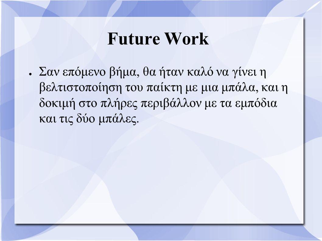 Future Work ● Σαν επόμενο βήμα, θα ήταν καλό να γίνει η βελτιστοποίηση του παίκτη με μια μπάλα, και η δοκιμή στο πλήρες περιβάλλον με τα εμπόδια και τ
