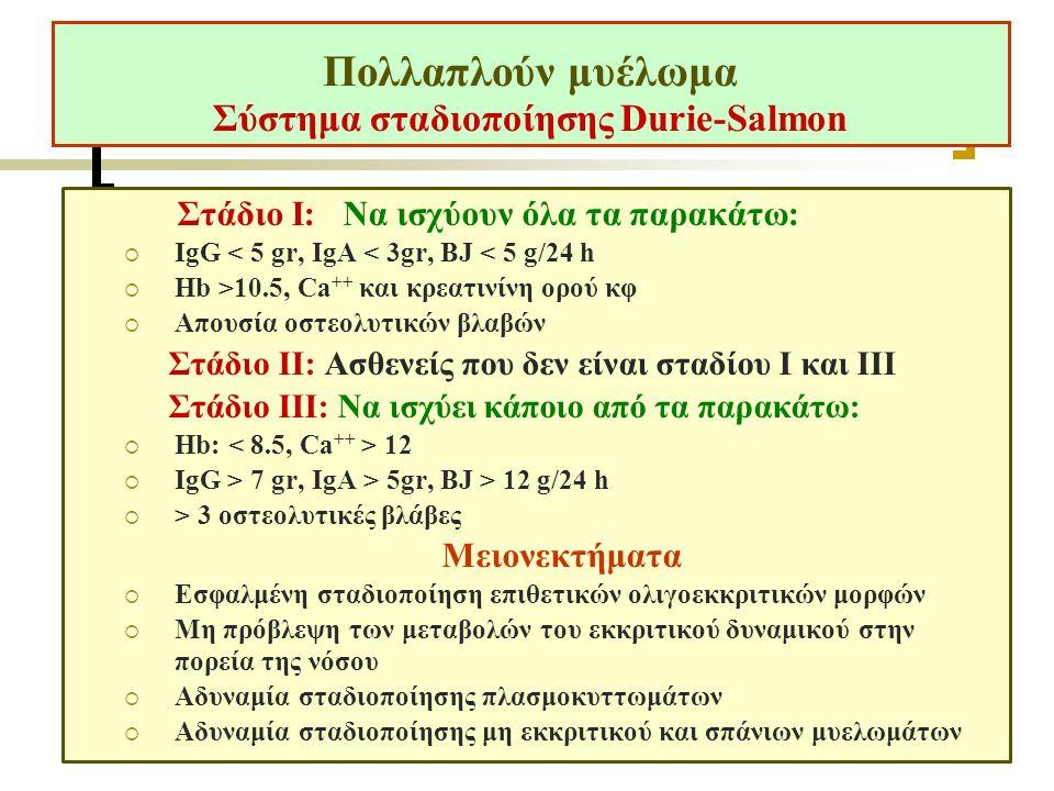 Πολλαπλούν μυέλωμα Σύστημα σταδιοποίησης Durie-Salmon Στάδιο I: Να ισχύουν όλα τα παρακάτω:  IgG < 5 gr, IgA < 3gr, BJ < 5 g/24 h  Hb >10.5, Ca ++ και κρεατινίνη ορού κφ  Απουσία οστεολυτικών βλαβών Στάδιο II: Ασθενείς που δεν είναι σταδίου Ι και ΙΙΙ Στάδιο III: Να ισχύει κάποιο από τα παρακάτω:  Hb: 12  IgG > 7 gr, IgA > 5gr, BJ > 12 g/24 h  > 3 οστεολυτικές βλάβες Μειονεκτήματα  Εσφαλμένη σταδιοποίηση επιθετικών ολιγοεκκριτικών μορφών  Μη πρόβλεψη των μεταβολών του εκκριτικού δυναμικού στην πορεία της νόσου  Αδυναμία σταδιοποίησης πλασμοκυττωμάτων  Αδυναμία σταδιοποίησης μη εκκριτικού και σπάνιων μυελωμάτων