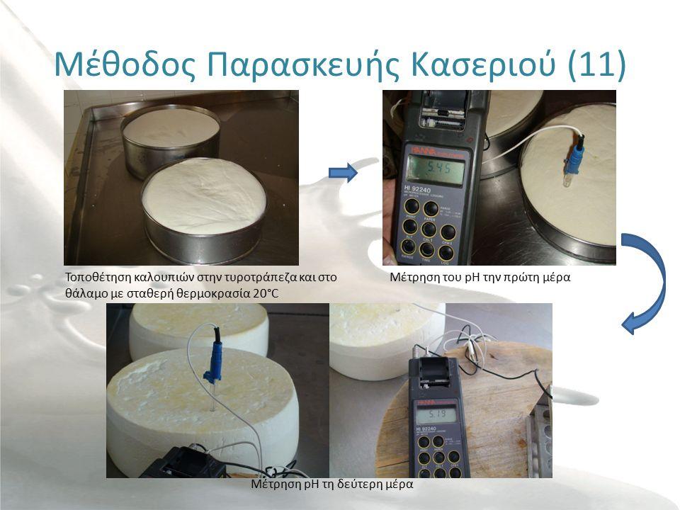 Μέθοδος Παρασκευής Κασεριού (11) Τοποθέτηση καλουπιών στην τυροτράπεζα και στο θάλαμο με σταθερή θερμοκρασία 20°C Μέτρηση του pH την πρώτη μέρα Μέτρηση pH τη δεύτερη μέρα