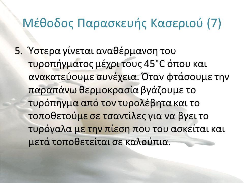 Μέθοδος Παρασκευής Κασεριού (8) Αναθέρμανση τυροπήγματος μέχρι τους 45°CΕξαγωγή τυροπήγματος Τοποθέτηση τυροπήγματος σε τσαντίλεςΕξαγωγή τυρογάλακτοςΓέμισμα τσαντίλας